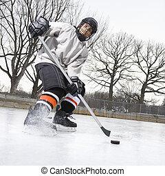 hockey., chłopiec, interpretacja, lód