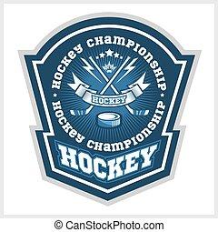 Hockey championship logo labels. Vector sport design -...