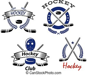 Hockey Club and team emblems logo with crossed sticks and a puck with wreaths or ribbon banners with text Hockey or Hockey Club