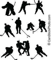 hockey collection - Collection of hockey players silhouettes...