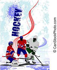 hockey, coloré, joueurs, poster., glace