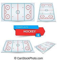 Hockey court. Four sport template.