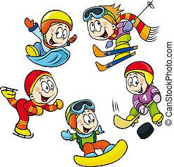 hockey, deporte, invierno, -, esquiador, niño, jugador, patinador