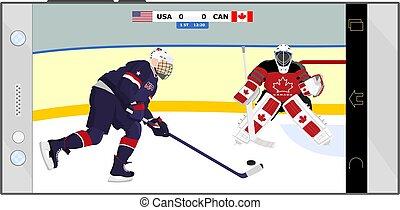 hockey, dessin animé, allumette, illustrations, attaque, défense