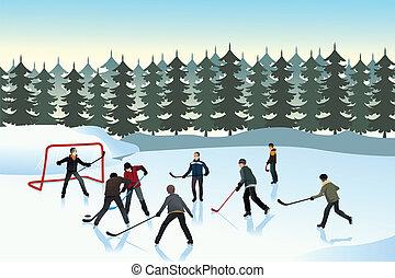 hockey, draußen, spielende , maenner, eis
