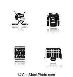 Hockey drop shadow black icons set