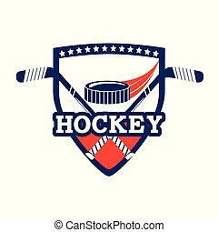 hockey emblem with puck and sticks equipment