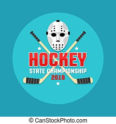 Hockey emblem with retro flat goalie mask and crossed sticks.