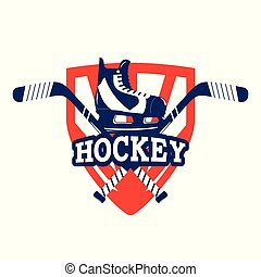 hockey emblem with skates and sticks equipment