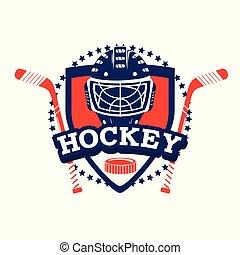 hockey emblem with sticks and helmet equipment