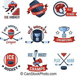 Ice hockey sport league champions emblems set isolated vector illustration