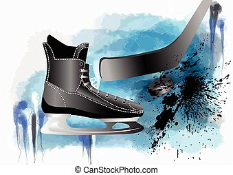 hockey skate in abstract molticolor grunge background