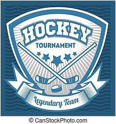hockey, equipo, logotipo, template., emblema, logotype,...