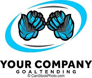 hockey, esports, logotipo, blu, sport, progetta, guanti
