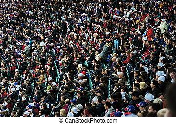 Hockey fans in the stadium's podium