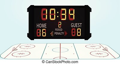 Hockey field with scoreboard. vector illustration
