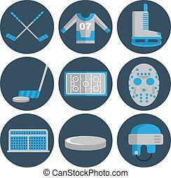 Hockey flat icons set