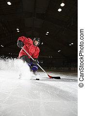 hockey., frau, spielende