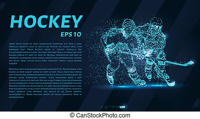 Hockey from the particles. Hockey breaks down into small molecules. Vector illustration.