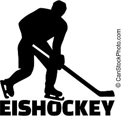 Hockey german word with player