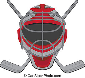 Hockey goalie. Ice Hockey Goalie Mask Sticks