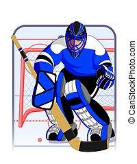 hockey goalie in blue uniform with goalie net in background
