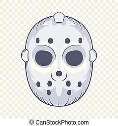 Hockey goalie mask icon, cartoon style - Hockey goalie mask...