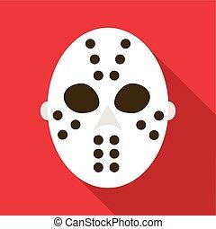 Hockey goalie mask icon, flat style