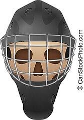 Hockey goalie mask skull on a white background. Vector illustration.
