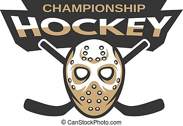 Hockey goalie mask with two sticks.