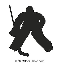 hockey, goalie., vettore, silhouette