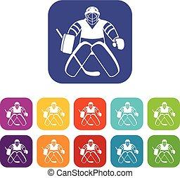 Hockey goalkeeper icons set
