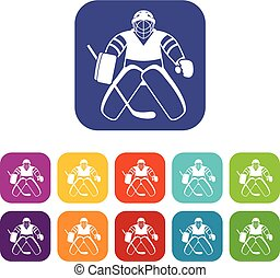 Hockey goalkeeper icons set