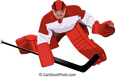 Hockey goalkeeper in the game - Depiction of a hockey...