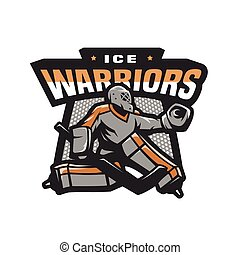 Hockey goalkeeper logo, emblem.