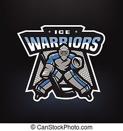 Hockey goalkeeper logo.