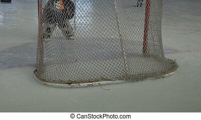 Hockey Goalkeeper on Ice