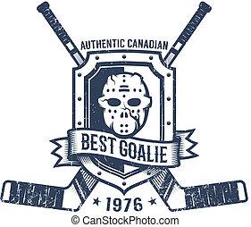 Hockey goalkeeper retro logo