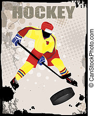 Action player, on grunge background, vector illustration. Hockey team grunge poster
