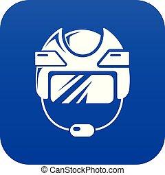 Hockey helmet icon blue vector