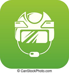 Hockey helmet icon green vector