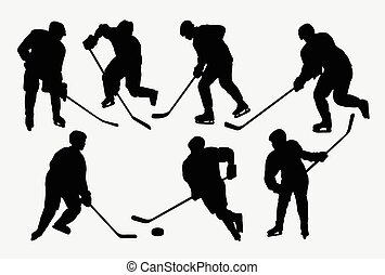 hockey, hielo, deporte, acción, siluetas