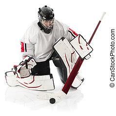hockey, hielo, portero
