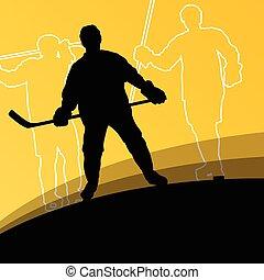 hockey, hommes, sport, silhouettes, actif, jeune, hiver, ...