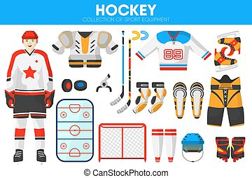 Hockey ice sport equipment game player garment accessory vector icons set