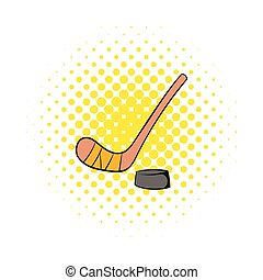Hockey icon in comics style