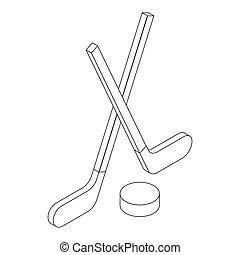 Hockey icon, isometric 3d style