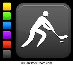Hockey icon on square internet button