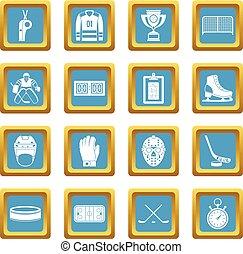 Hockey icons azure