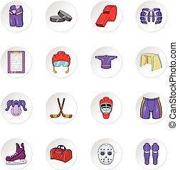 Hockey icons, cartoon style